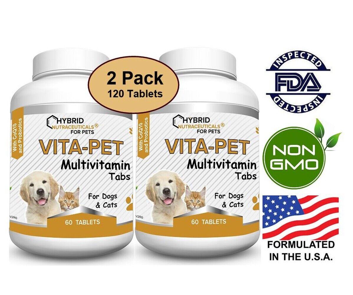 Dog Vitamins, CoQ10, Probiotics, Cat & Dog Multi Vitamins, Pet Vitamins (2-Pack)