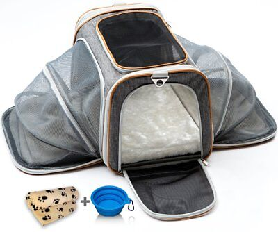 Cat Dog Carrier Medium Airline Approved w/ Soft Expandable Kennel Crate for Pets