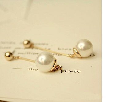 - Women's Elegant Gold Plated Long Bar And Faux Pearl Earrings Jewellery gift UK