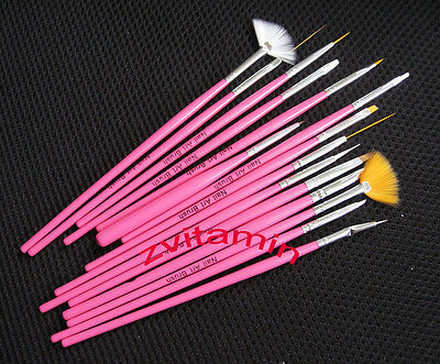 15 Pcs Nail Art Acrylic UV Gel Design Brush Set Painting Pen Tips Tools kit on Rummage