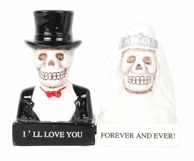 Bride Groom Day of the Dead Skeleton Couple Magnetic Salt and Pepper Shakers Set