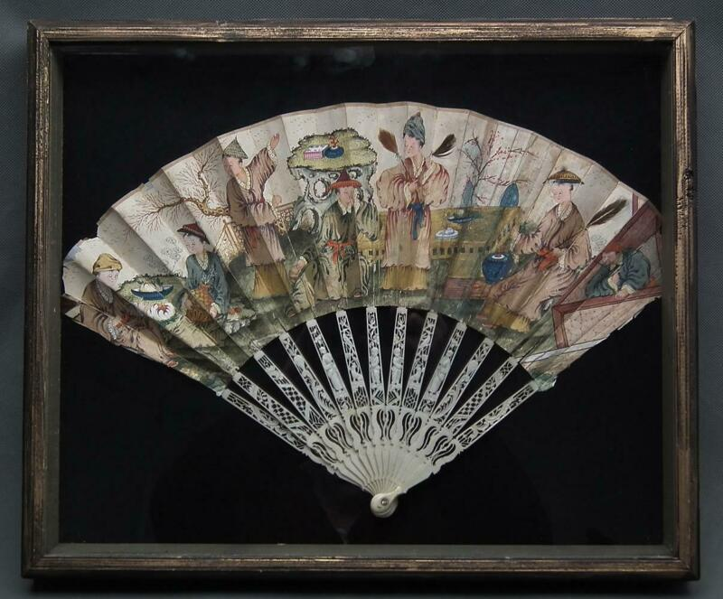 Antique 18th Century Chinese Export Fan Heand Painted With Chinoiserie Scene