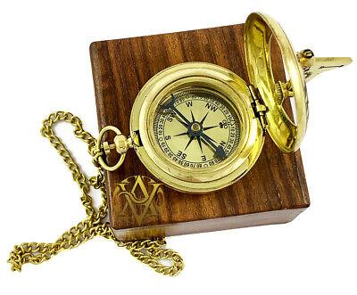 Nautical Antique Poem Sundial Compass Vintage Push Button Mini Compass Xmas Gift