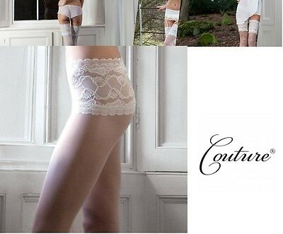 Tight White Collection (Bridal Collection Soft & Sheer Lace Top Tights Ivory & White M L)