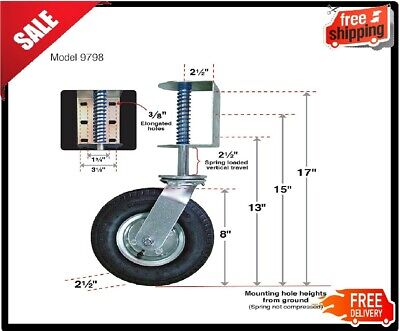 Gate Caster Pneumatic Spring-loaded Universal Mount 200lb Load Capacity 8-wheel