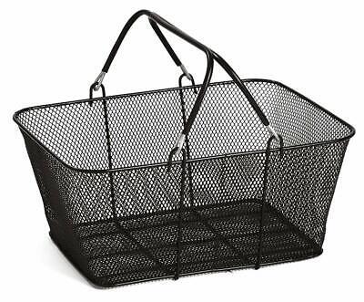 Ssw Basic Black Metal Shopping Basket Retail Merchandise Supermarket With Handle