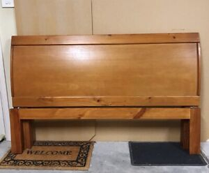 Timber sleigh queen bed frame (no mattress)