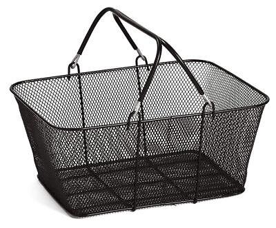 Black Metal Shopping Basket Mesh 17 X 12 X 7 Supermarket Merchandise Retail
