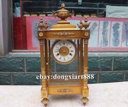 European Retro Bronze Gold trophy Cup Mechanical clockwork Table Clock Timepiece
