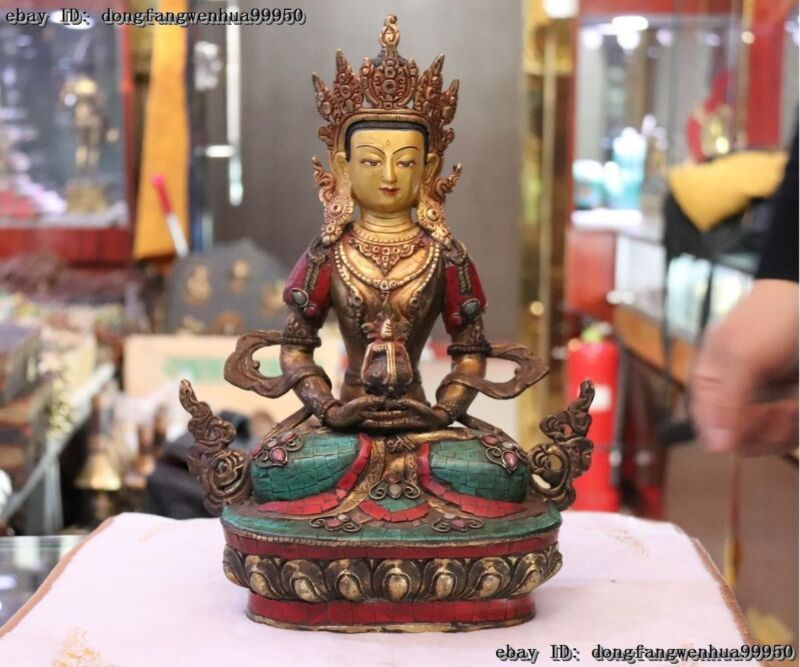 Tibet Buddhism Bronze Inlay Turquoise Coral Gilt Amitayus Buddha Kwan-Yin Statue