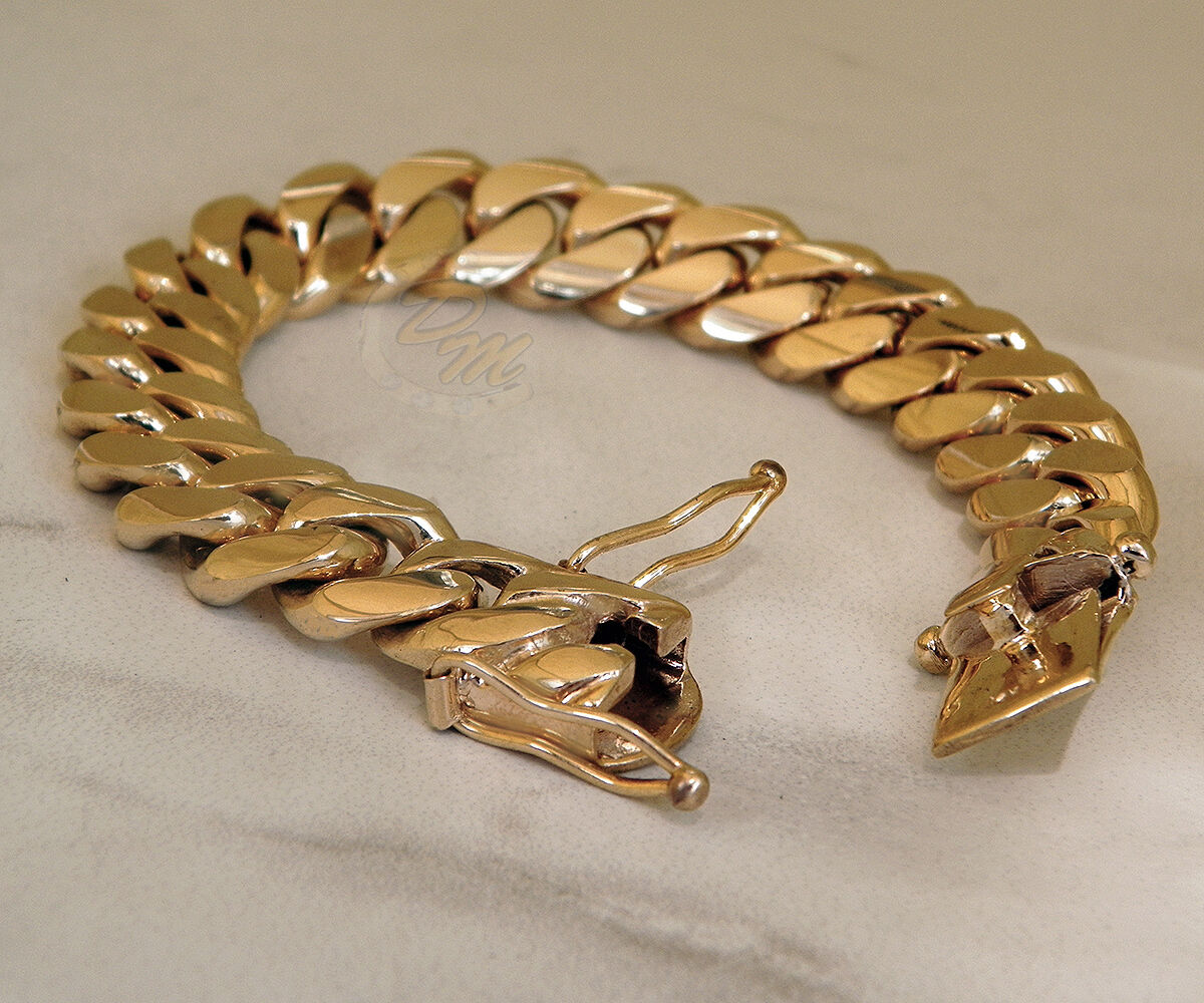 14k solid gold handmade miami cuban curb link solid 14k gold miami s cuban curb link bracelet heavy