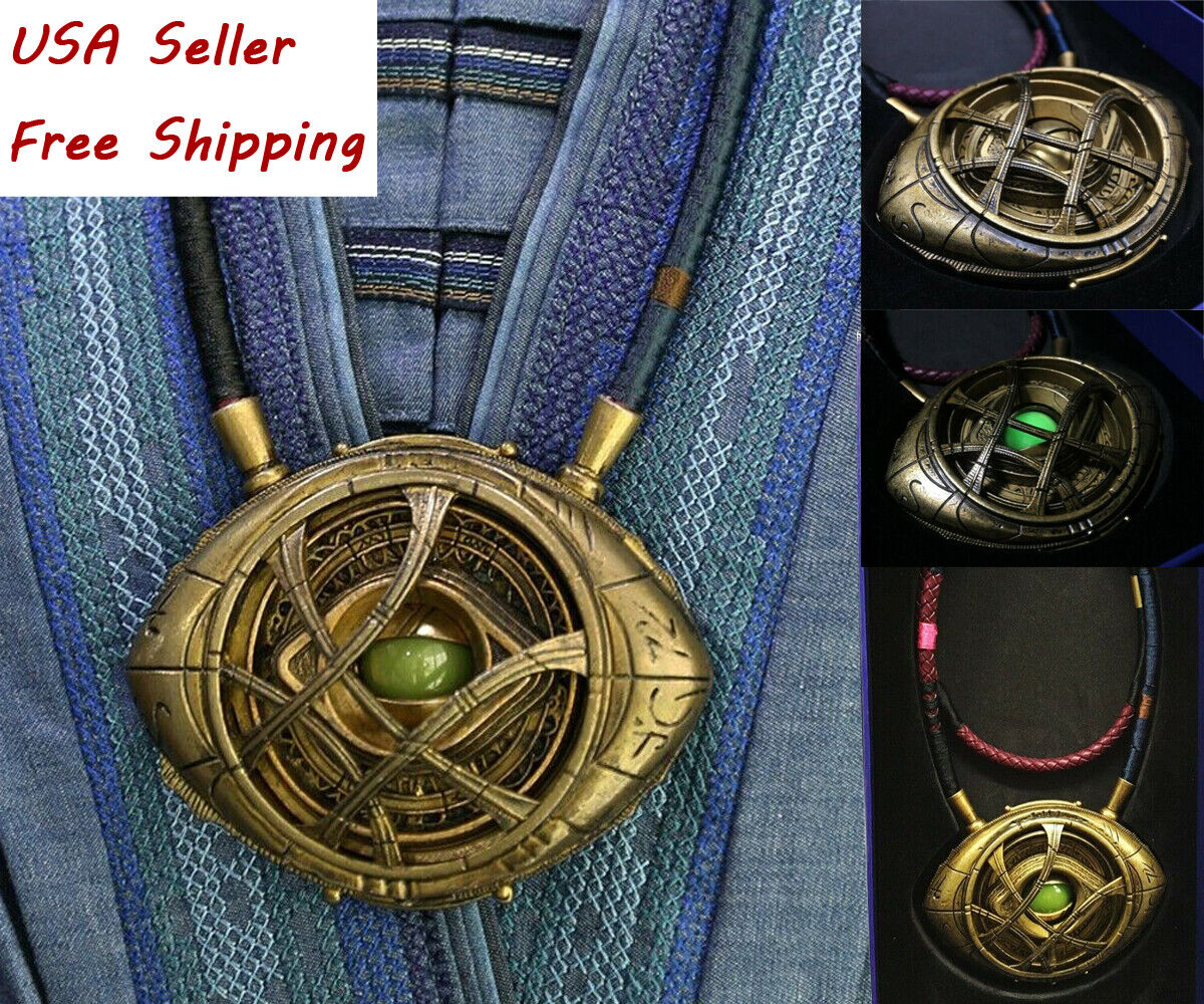 1:1 Avengers Doctor Strange Eye Of Agamotto Necklace Gemstone Light Pendant USA Entertainment Memorabilia