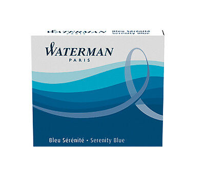 Waterman Mini Fountain Pen Ink Cartridges 6 Pk  Serenity Blue  Florida Blue