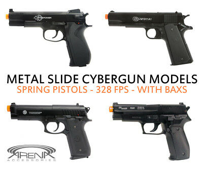Best All Metal Slide Spring Airsoft Pistol Gun 328 FPS Cybergun 45 PT92 Sig