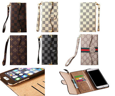 Luxury Famous Grid Leather Flip Cash Wallet Cover Case W  Strap For I Phone Gg06