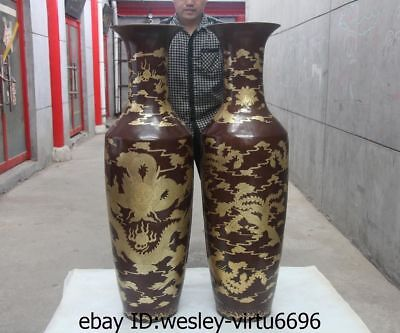 Huge Chinese Palace Red Copper Bronze Gold Gilt Dragon Phoenix Bottle Vase Pair