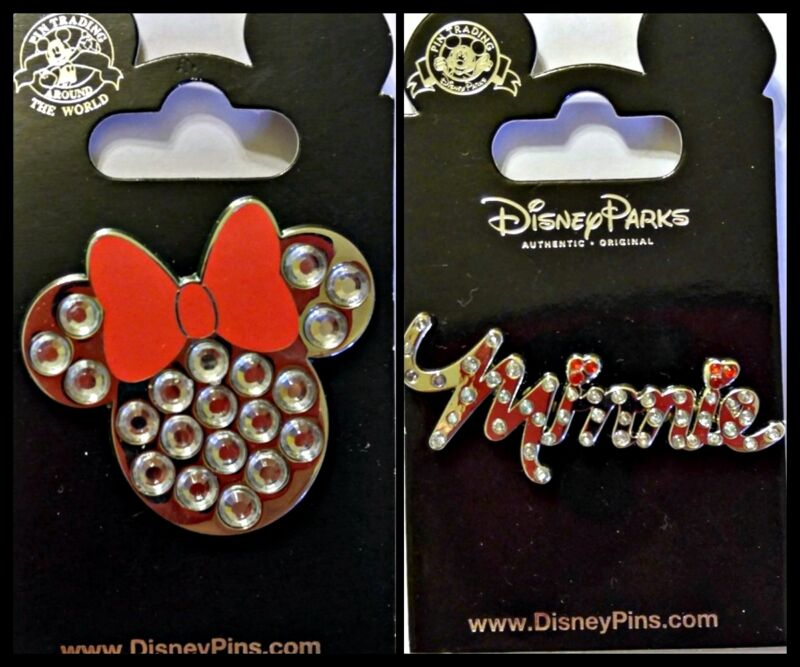 Disney Parks 2 Pin Lot Minnie Mouse jeweled name + head