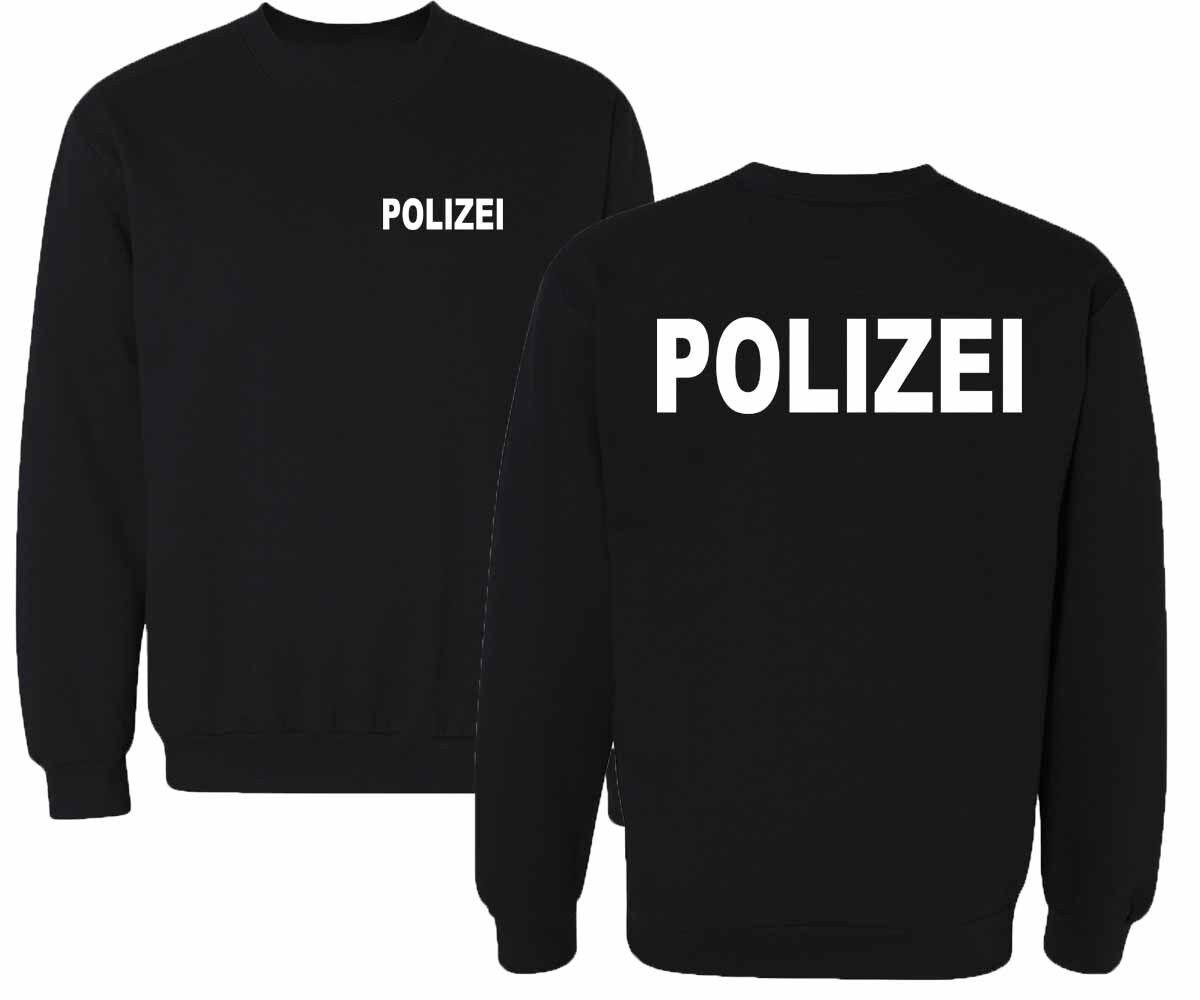 POLIZEI  Sweatshirt Pullover schwarz Druck weiß oder silber reflektierend