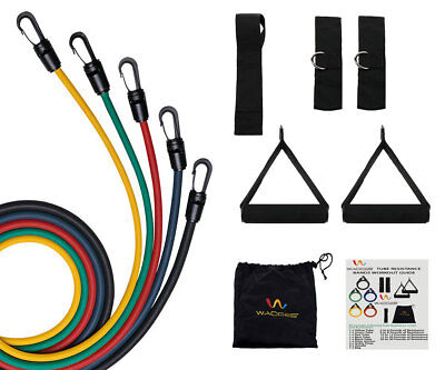 Resistance Band Set Door Anchor, Ankle Strap, Exercise Chart & Case 11pcs Fitness Equipment & Gear