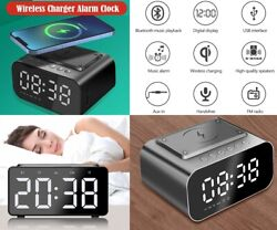 Wireless Charger Alarm Clock Bluetooth Speaker LED Smart Radio USB Fast Charger