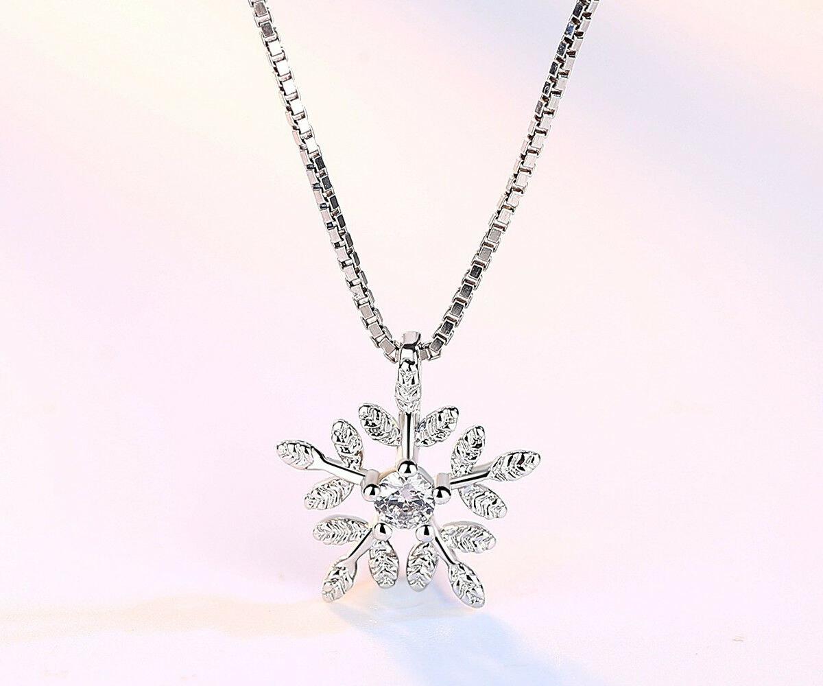 Jewellery - Snowflake Pendant 925 Sterling Silver Chain Necklace Womens Jewellery Gift
