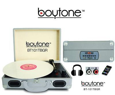 boytone Mobile Briefcase Turntable BT-101TBGR - Belt Drive -