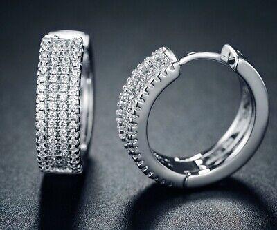 Sevil 18K White Gold Plated Swarovski Elements Round Huggie Earrings