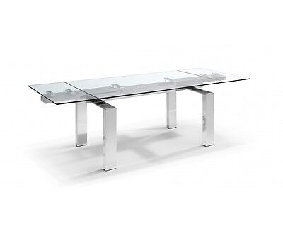 "63/98"" Long Adolfo Extendable Dining Table 1/2"" Tempered Clear Glass Top Alumini"
