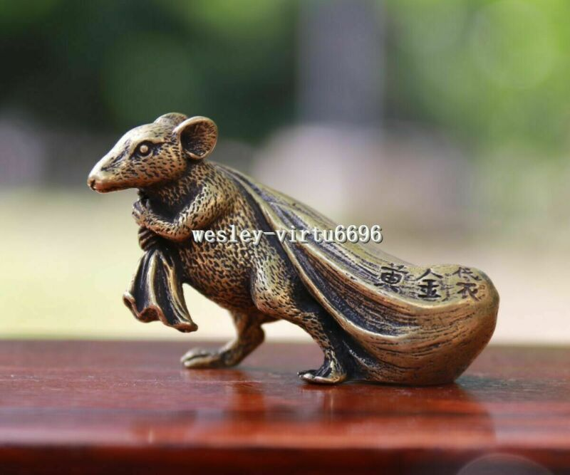 6 cm Pure Bronze Copper Zodiac Animal Rat Mouse Bring Wealth Sack Statue