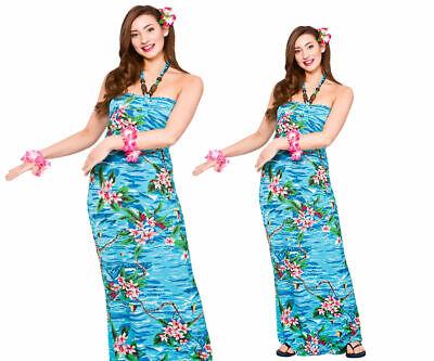 Hawaii Maxi Dress Ladies Beach Party Hawaiian Fancy Dress Costume New S-XL