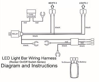 wiring harness green led light bar laser rocker switch on off relay fuse  car atv