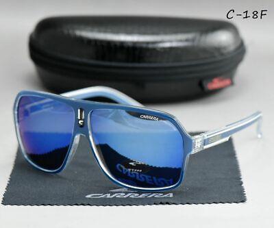 Herren Damen  Carrera Sonnenbrille UV400 - Unisex SCHWARZ Blau Weiß Spiegel  NEU