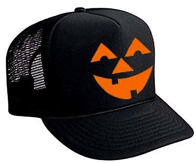 Pumpkin Head Halloween Costume Snapback Mesh Trucker Hat Cap Black