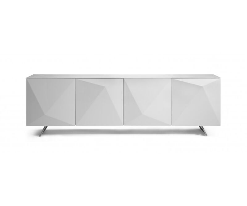 "95"" W Sideboard Modern Buffet High Gloss White Wood Glass Top Metal Brushed Legs"
