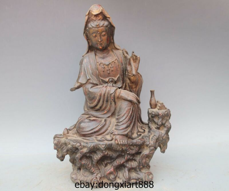 "17"" Tibet Bronze Comfortable Kwan-yin Bodhisattva Guanyin Avalokitesvara Statue"