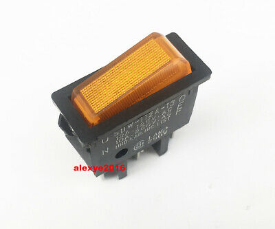 SHINDEN CO.,LTD SDW-112A-13 Rocker Switch 3 Pins ON-OFF 2 Positions Yellow Lamp