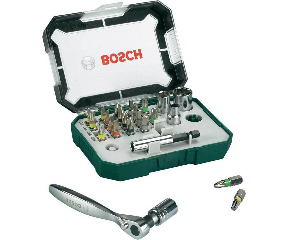 Set 26pz. di bit di avvitamento con chiave a cricchetto Bosch Rainbow Evo