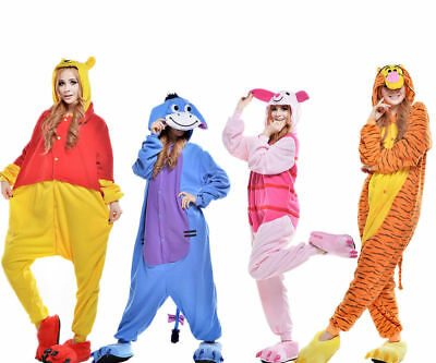Cosplay X (PC Winnie the pooh Cosplay Erwachsene Karneval Tier Pyjama Kostüm Nachtwäsche-x)