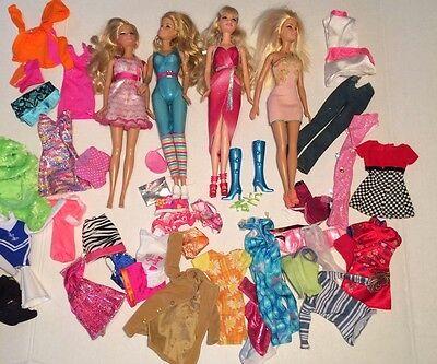Huge Barbie Dolls Clothes Shoes Dresses Boots Lot EUC