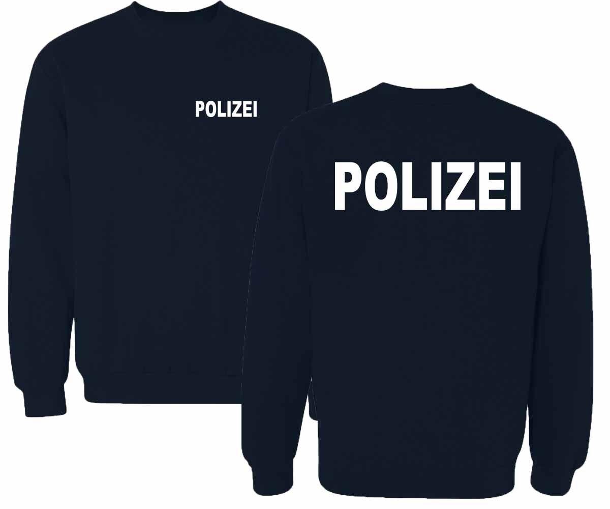 POLIZEI  Sweatshirt Pullover marineblau Druck weiß oder silber reflektierend
