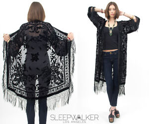 Sheer 100% SILK VELVET Floral BURNOUT Gypsy Fringe Kimono Cape Dress JACKET