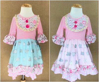 NEW Girls Boutique Pink Striped Apple Blue Sheep Ruffle Blue Dress 5-6 7-8](Girls Boutique Dresses)