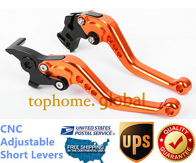For Bajaj Pulsar 200 NS Short Clutch Brake Levers CNC Orange Adjustable US