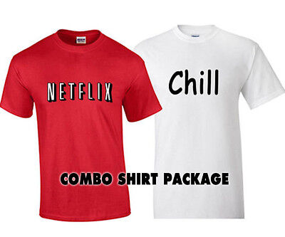 Netflix Costume Netflix and Chill Halloween Costume Shirt Combo Shirt Package - Netflix Halloween