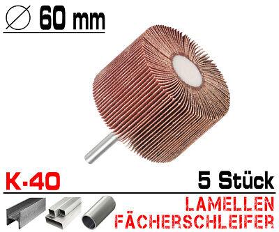 5 x Lamellen Fächer Schleifer Schleiffächer Schleifmop Schleifstift Ø 60mm / K40
