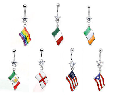 Flag Belly Ring - Flag Belly Ring 316L Surgical Steel Pierced Navel Naval Patriotic Country