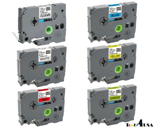 TZ-231 TZe-231 6 Pk Color Compatible Label Maker Tape 12mm for  P-Touch PT-D210
