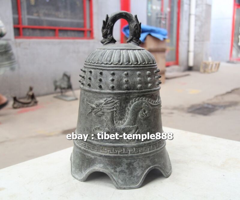 32 CM Chinese Buddhism Temple Pure Bronze gray Double Dragon Hang Buddha bell