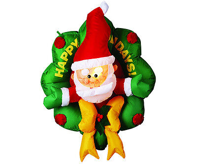 Christmas Lawn Inflatables   Inflatable Wreath Santa Christmas Lawn Yard  Decoration Large Airblown Decor