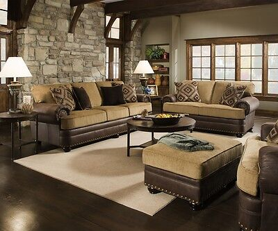 Traditional Beige Brown Living Room Sofa Set W  Rolled Arms   Nailhead Accents